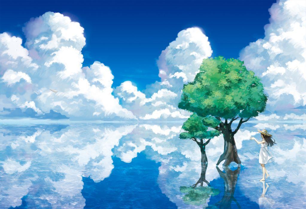 amemura (caramelo) clouds dress hat landscape original ribbons scenic sky summer dress tree water wallpaper