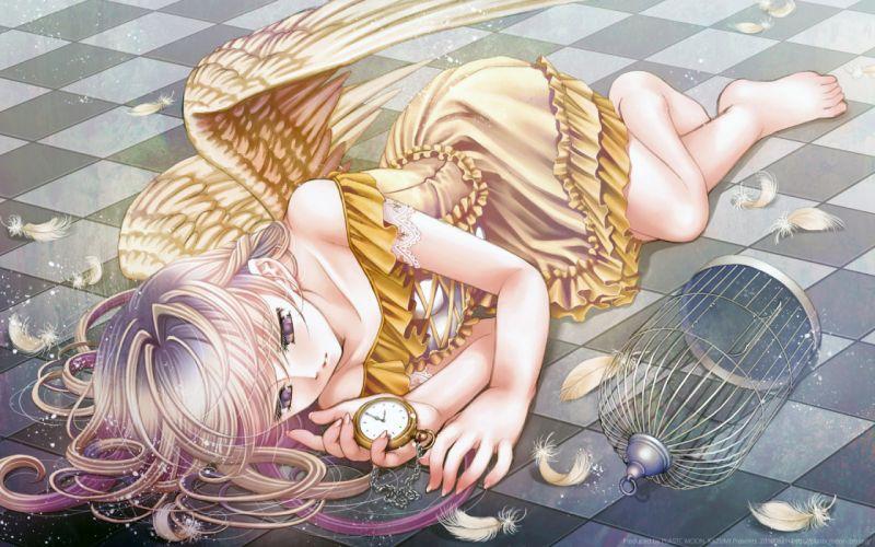 angel barefoot long hair original plastic moon (pixiv) wings wallpaper