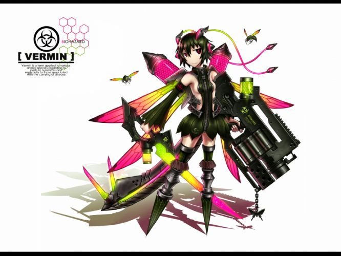 anthropomorphism black hair butterfly gia gun original red eyes short hair sideboob skirt sword tail weapon white wings wallpaper