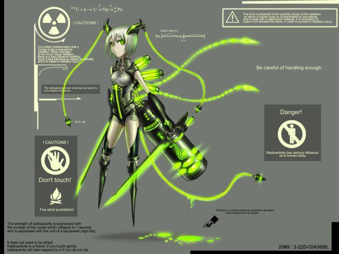 anthropomorphism gia gray green eyes original short hair sword twintails weapon white hair wallpaper