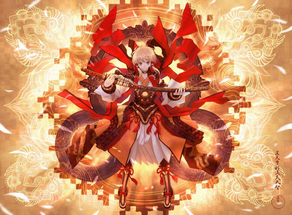 armor blonde hair boots brown eyes japanese clothes masakichi original petals short hair sword weapon wallpaper