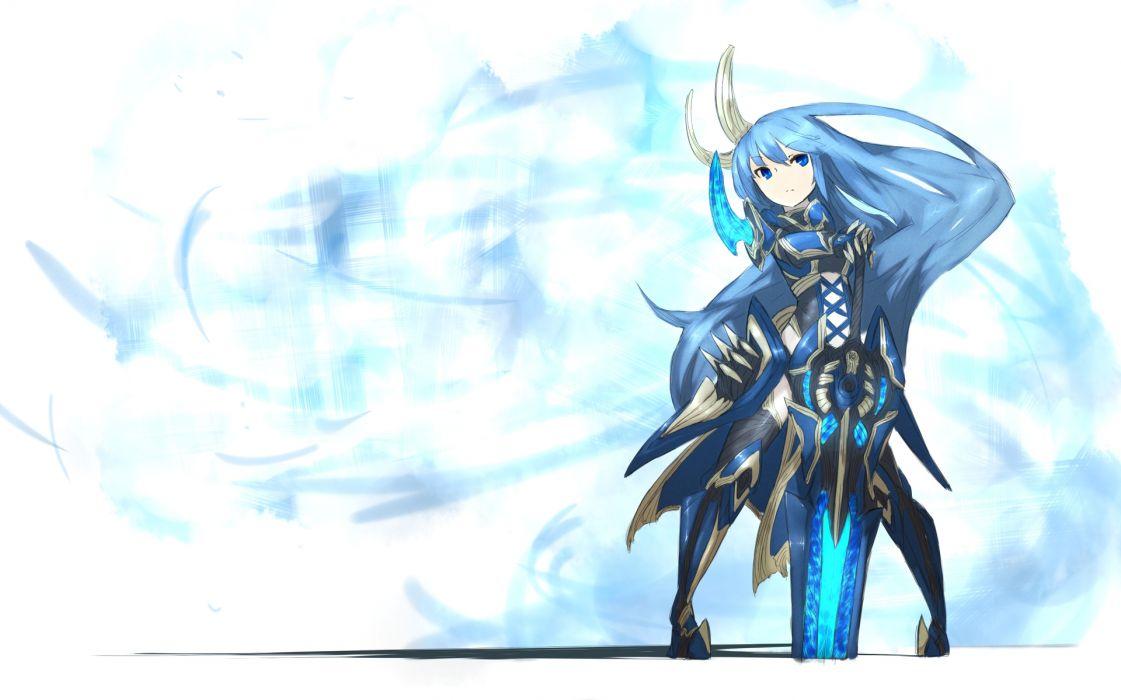 armor blue hair boots long hair original shiroganeusagi sword weapon wallpaper