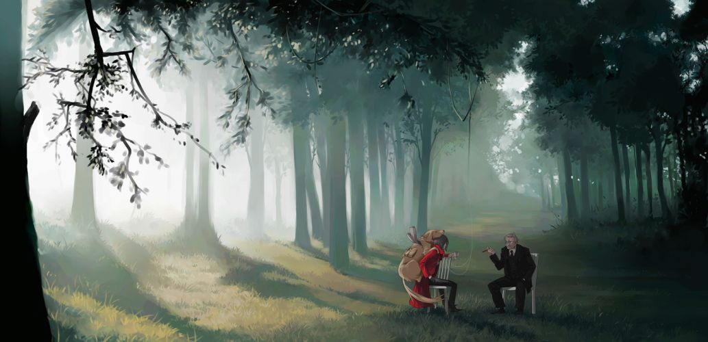 animal bela bartok dog forest landscape mayumio original scenic wallpaper