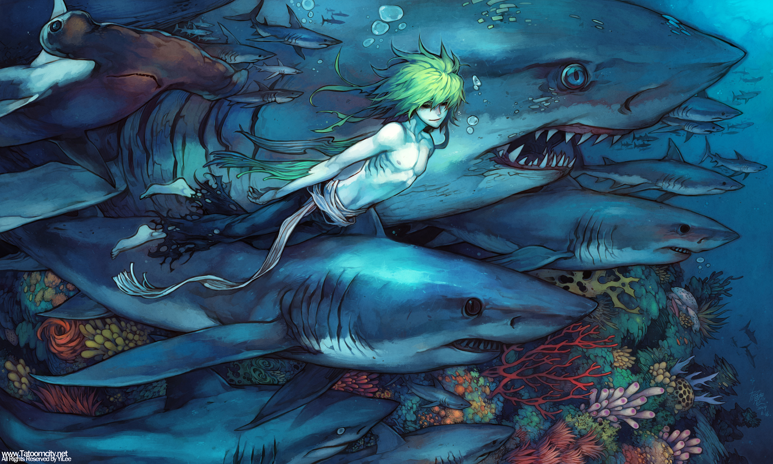Animal blue bubbles fish green hair male original shark topless