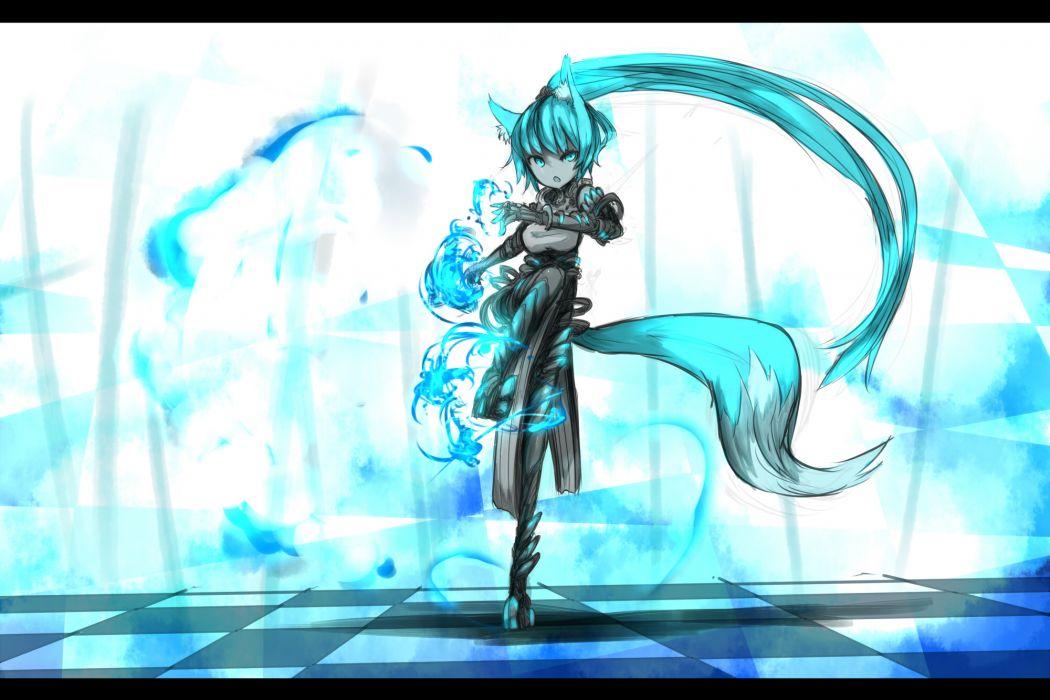 animal ears armor blue eyes blue hair boots fire foxgirl gloves long hair original ponytail shiroganeusagi tail wallpaper