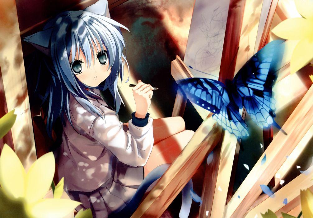 animal ears blue hair blush butterfly catgirl i_s_w_ long hair original shino (eefy) skirt tail wallpaper