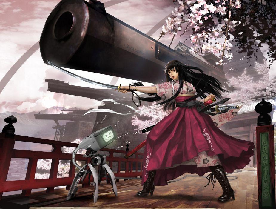 black hair boots cherry blossoms japanese clothes long hair original robot sky sword vanipo weapon wallpaper