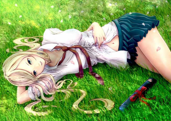 blonde hair blue eyes grass long hair minusion original petals skirt tie wallpaper