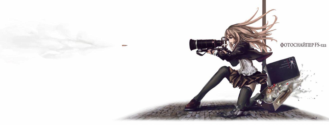 blonde hair camera gun lin+ long hair original skirt speed grapher tennouzu kagura thighhighs weapon white wallpaper