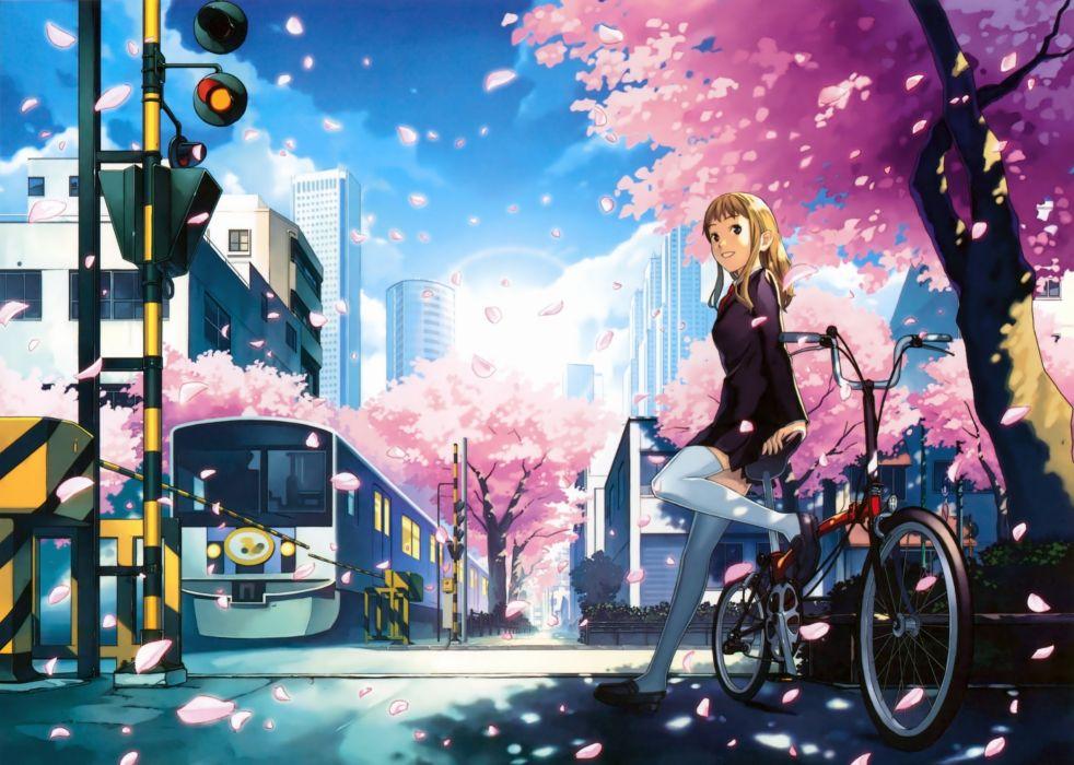 bicycle blonde hair blue eyes building cherry blossoms city katou akatsuki long hair original thighhighs train tree wallpaper