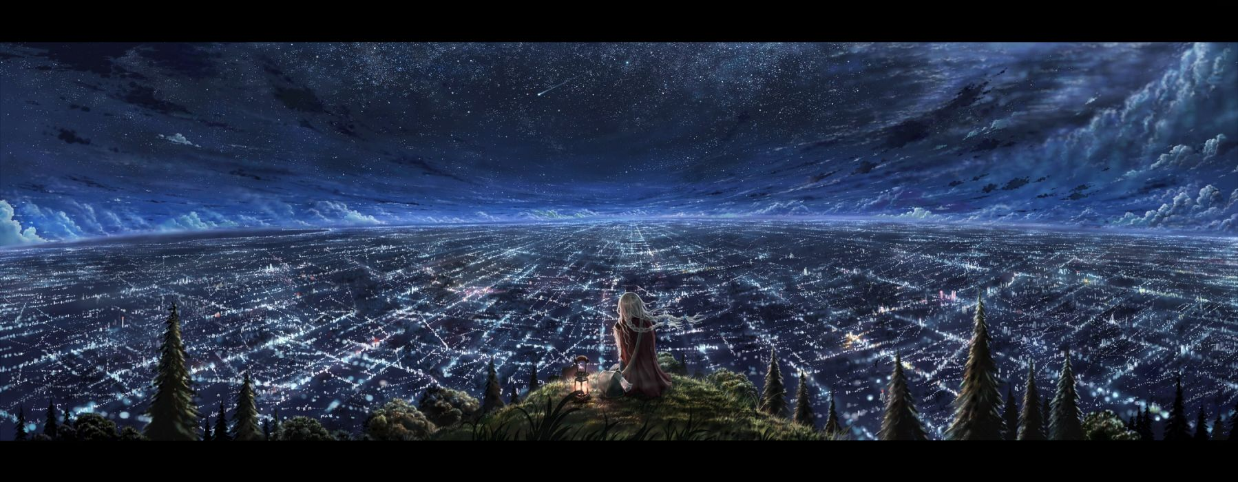 blonde hair city clouds cola (gotouryouta) grass landscape night original scenic sky stars tree wallpaper