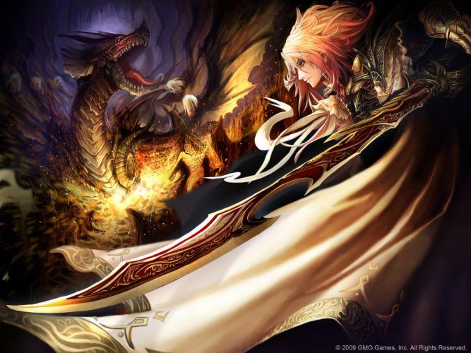 blonde hair dragon original short hair sword tachikawa mushimaro weapon wallpaper