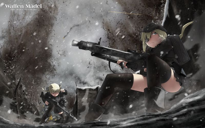 blonde hair eyepatch glasses gun ling (cg sky) miharu original panties skirt thighhighs underwear weapon wallpaper