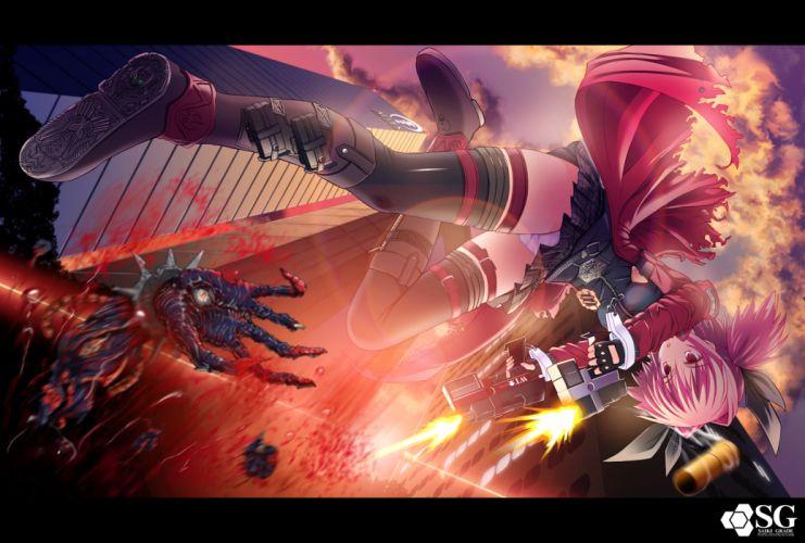 blood gun original panties pink eyes pink hair saikikazuya thighhighs underwear weapon wallpaper