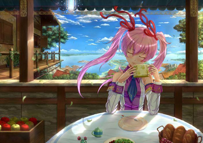 blush bow clouds food kazeno long hair original pink hair ribbons scenic sky twintails water wallpaper