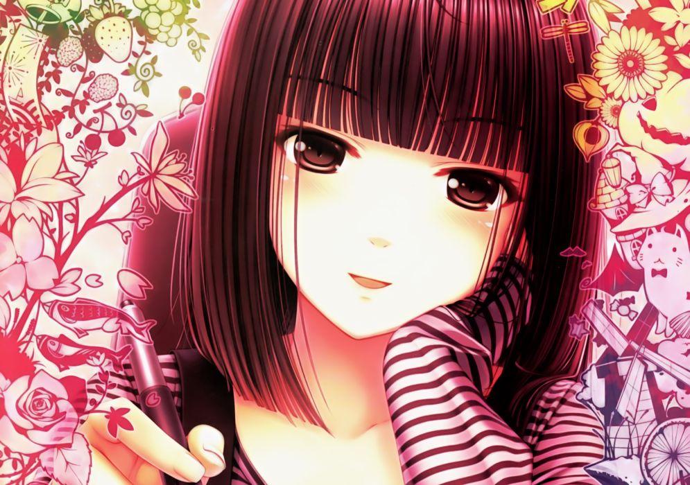 blush brown eyes brown hair close flowers food original sayori short hair wallpaper