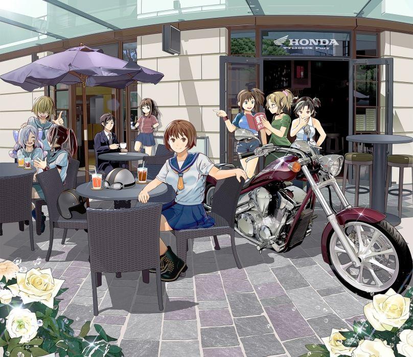 boots brown eyes brown hair drink echizenya tawara no kai norihiko flowers glasses motorcycle original ponytail rose seifuku short hair wallpaper
