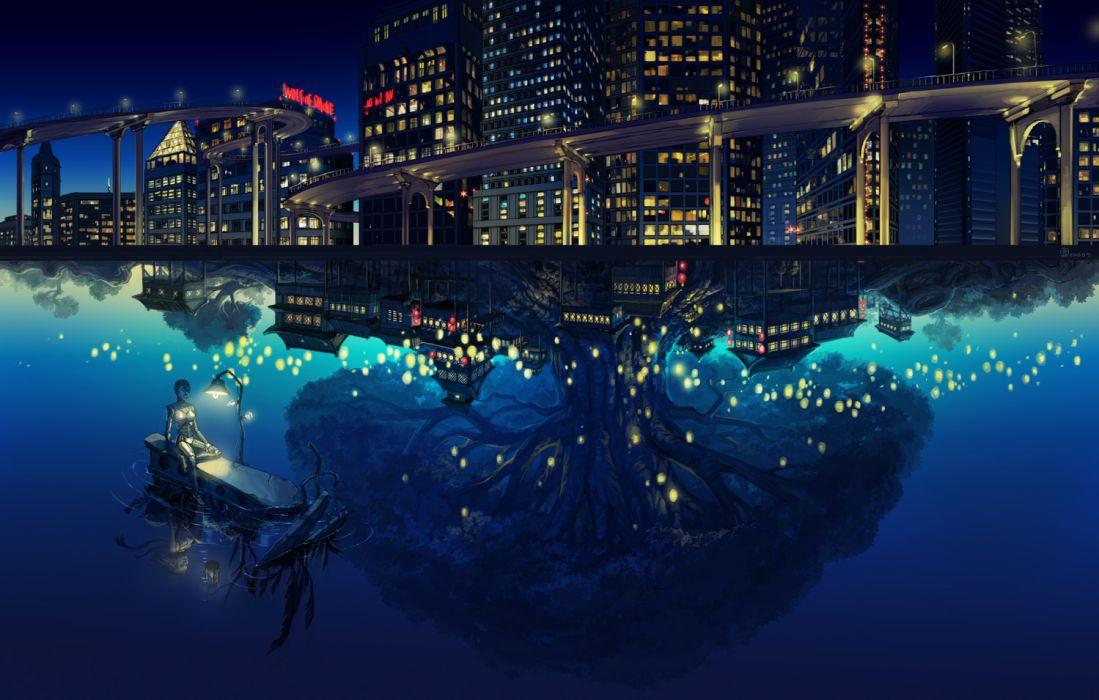 building city landscape mugon night original robot scenic tree water wallpaper