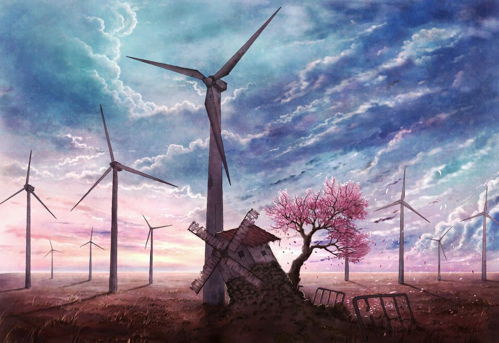cherry blossoms clouds cola (gotouryouta) grass landscape original petals ruins scenic sky tree windmill wallpaper