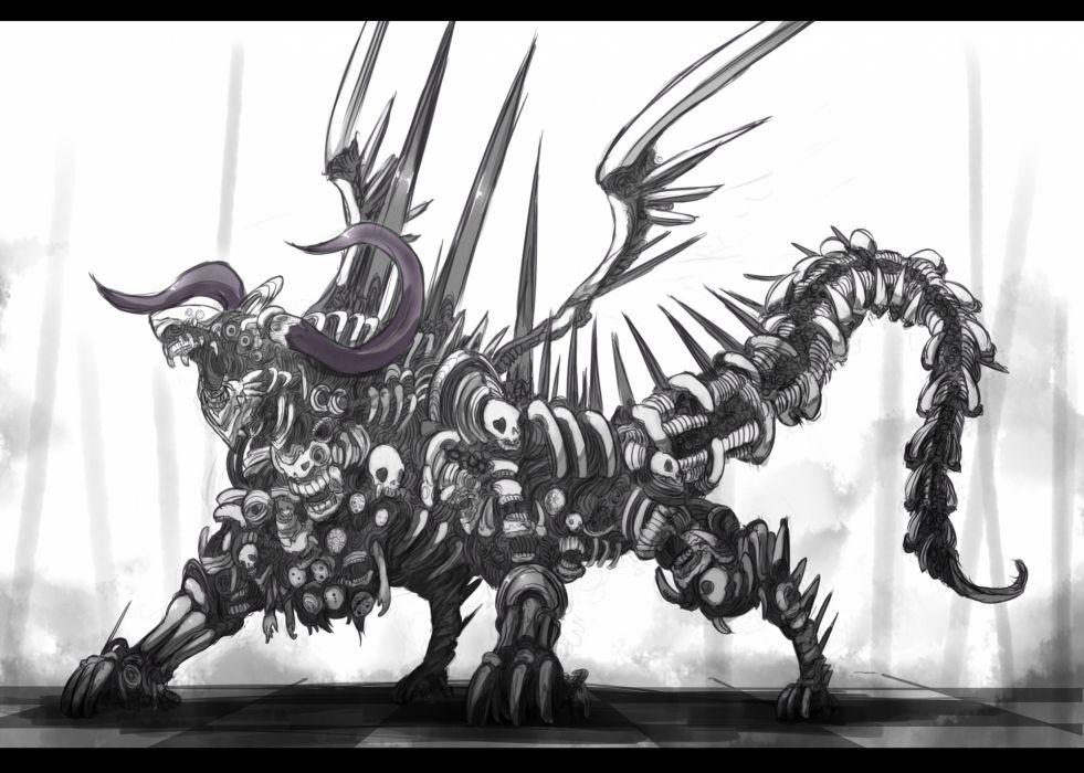 demon horns original shiroganeusagi wings wallpaper