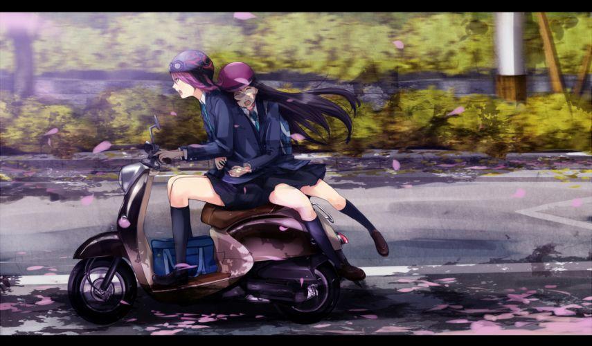 girls black hair green eyes kneehighs long hair motorcycle original petals pink hair purple hair seifuku shigureteki short hair skirt yuri wallpaper