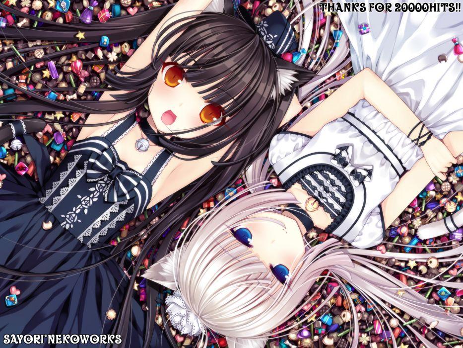 girls black hair blue eyes blush candy catgirl choker hat lolita fashion long hair orange eyes original ribbons sayori tail white hair wallpaper