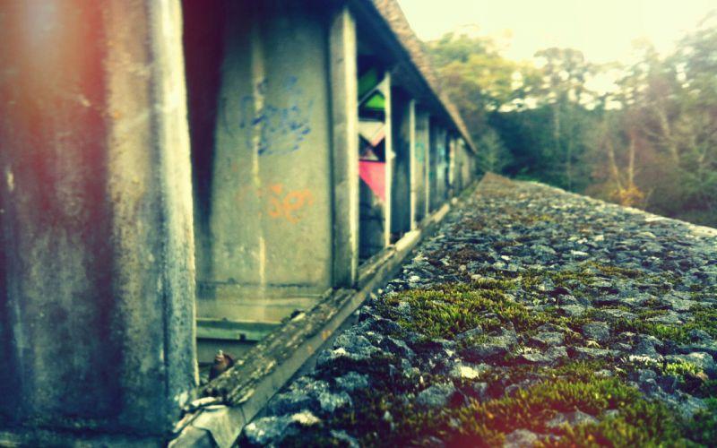 grass rocks graffiti railway wallpaper