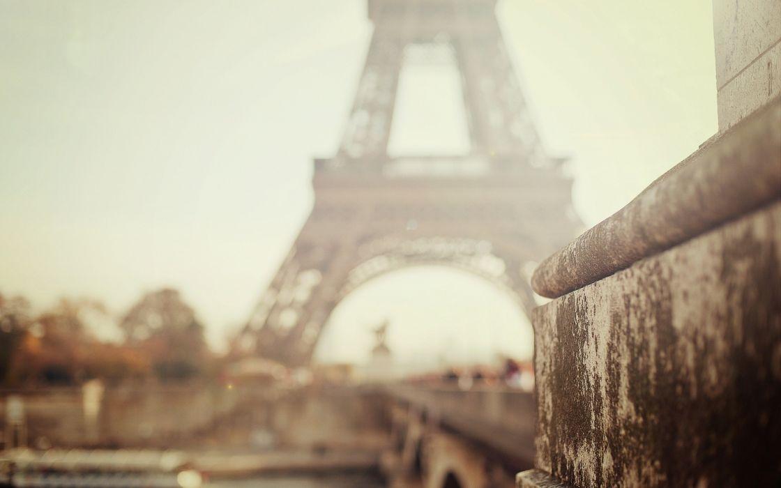 Eiffel Tower Paris cityscapes France fog wallpaper