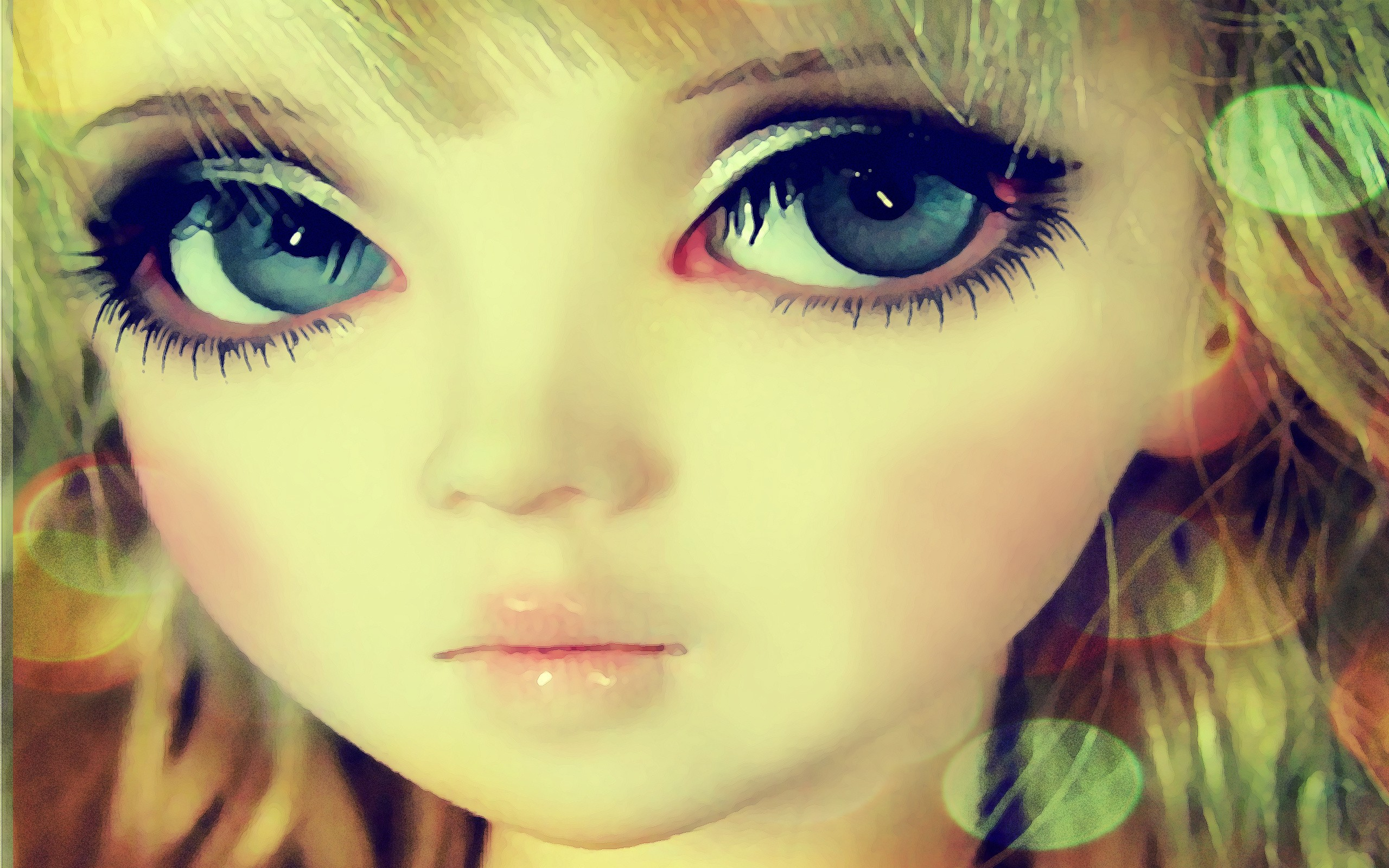 blondes big eyes drawings faces doll bjd wallpaper 2560x1600