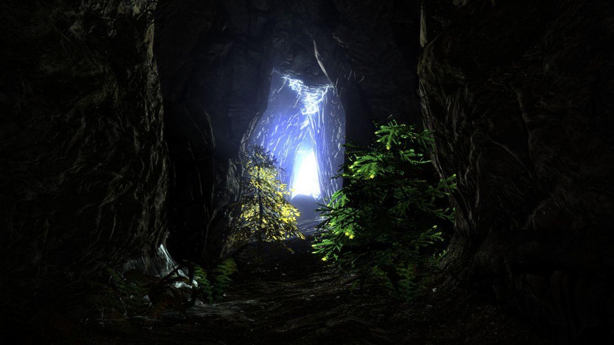 light cave tunnels The Elder Scrolls V: Skyrim wallpaper