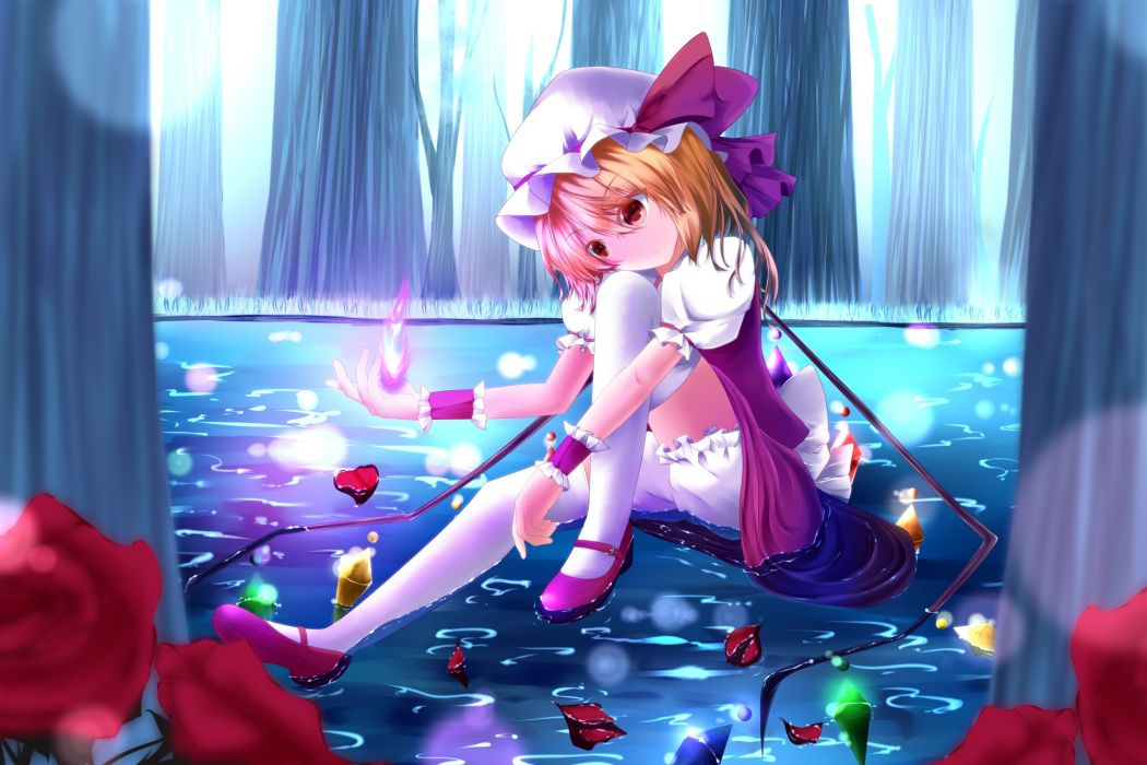 aru (tohomoyashi) blonde hair bow fire flandre scarlet flowers forest grass hat petals rose short hair tagme thighhighs touhou tree water wings wallpaper