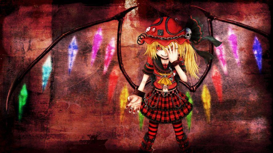 blonde hair chain flandre scarlet hat navel red eyes shisen short hair skirt skull tagme touhou wings wallpaper