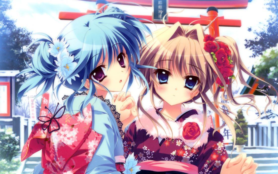 blue eyes blue hair blush brown hair izumi tsubasu japanese clothes kimono mashiroiro symphony purple eyes sena airi uryu sakuno wallpaper