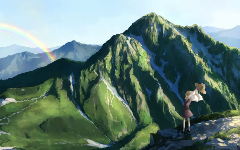 landscape moriya suwako rainbow scenic touhou yuu-rin wallpaper