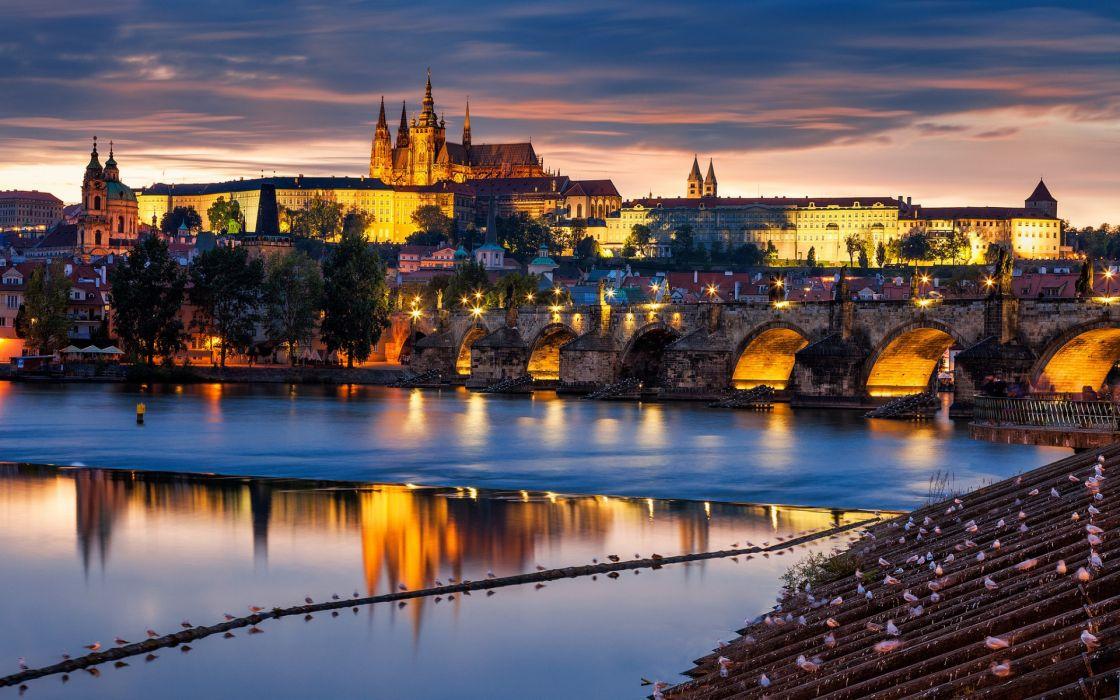 Praha Prague Czech Czech Republic city bridge river Vltava evening architecture building wallpaper
