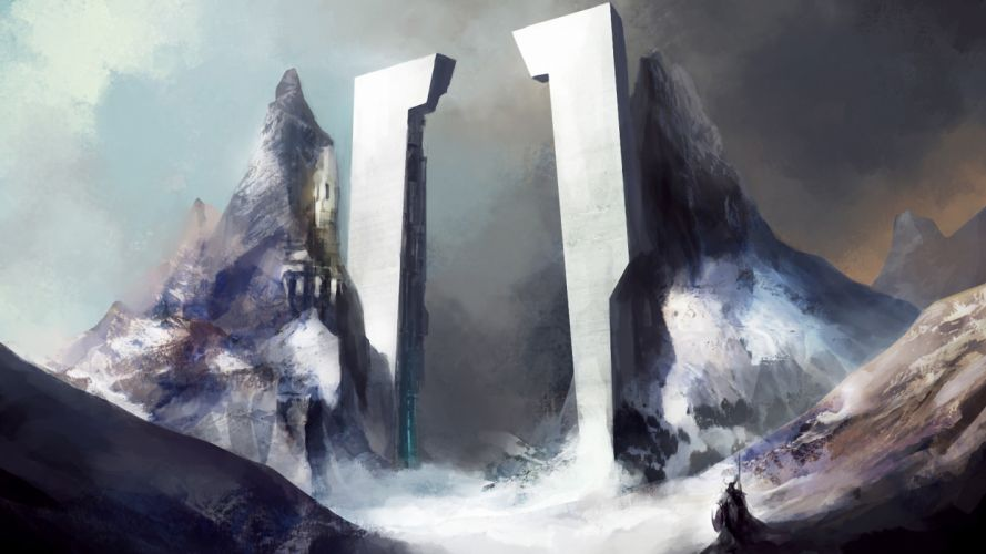 Tower Drawing Mountains wallpaper