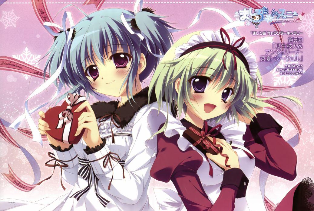 girls angelina nanatsu sewell izumi tsubasu mashiroiro symphony seifuku short hair uryu sakuno valentine wallpaper