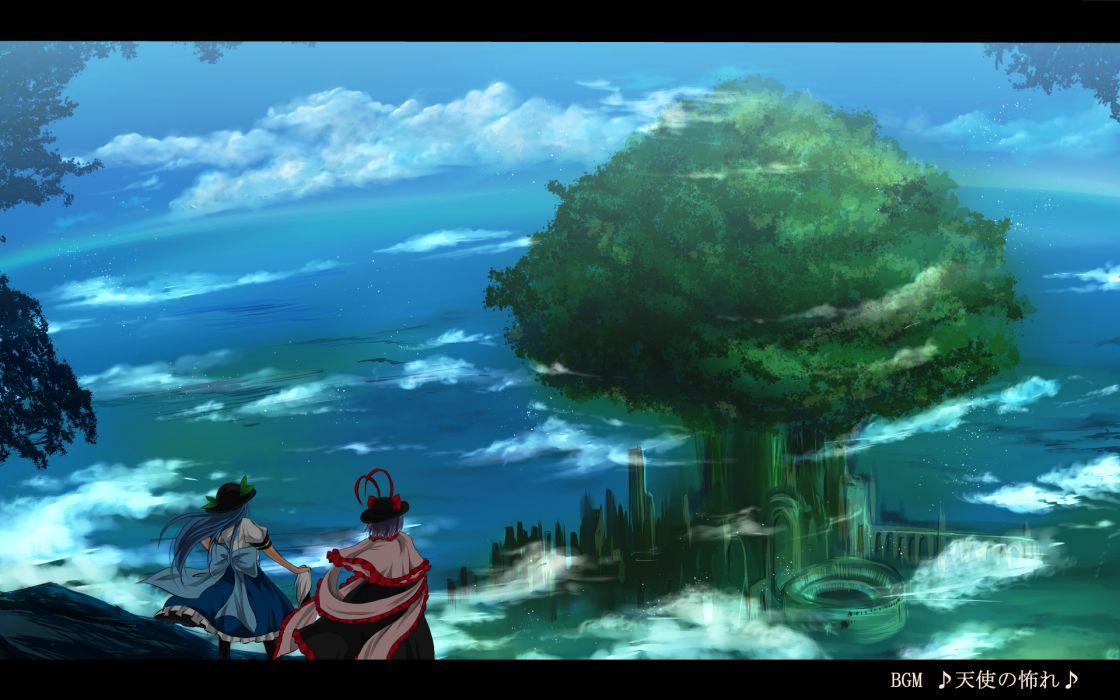 hinanawi tenshi nagae iku nekominase touhou tree wallpaper