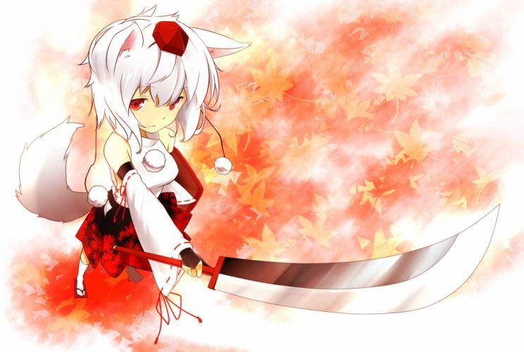 inubashiri momiji leaves ninnzinn red eyes short hair sword tail touhou weapon white hair wallpaper