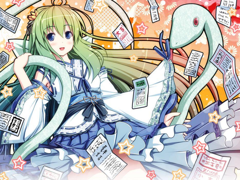 akashio blue eyes green hair kochiya sanae long hair touhou wallpaper