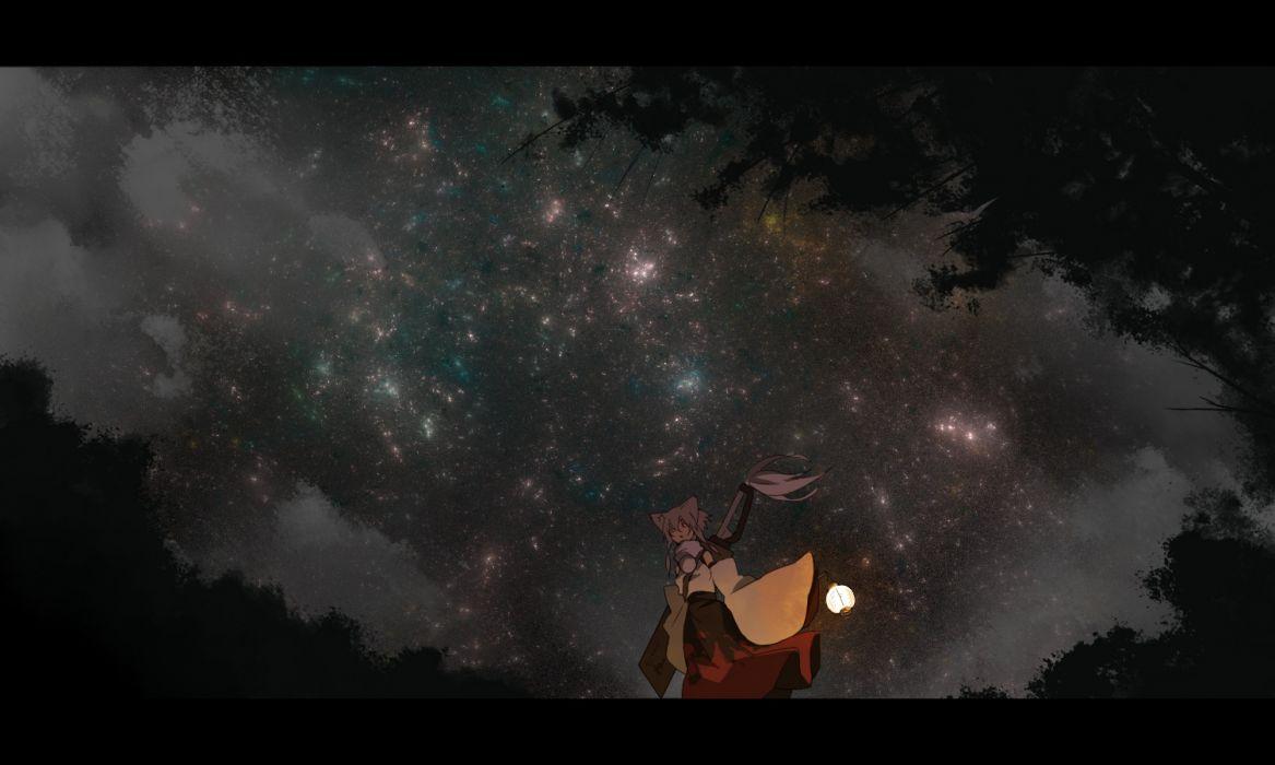 animal ears inubashiri momiji japanese clothes night seu (hutotomomo) sky stars touhou wallpaper