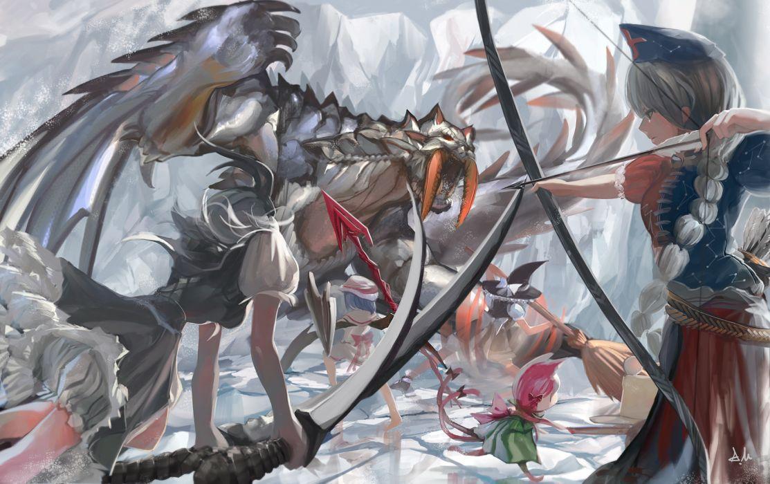 barioth bow (weapon) kaenbyou rin kirisame marisa konpaku youmu monster hunter remilia scarlet sword tagme (artist) touhou weapon yagokoro eirin wallpaper
