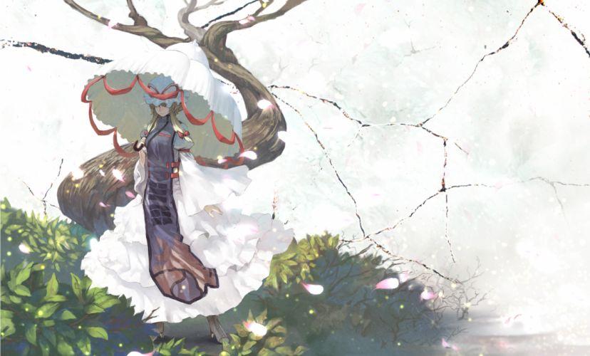 benitama dress hat petals touhou yakumo yukari wallpaper