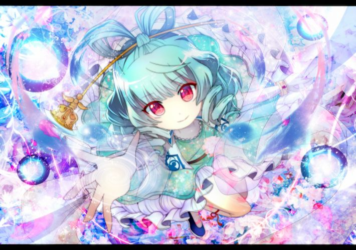blue hair dress fumiko (miruyuana) kaku seiga magic pink eyes ribbons short hair touhou wallpaper