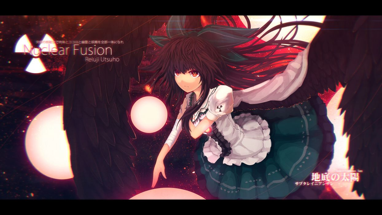 bow eva200499 red eyes reiuji utsuho touhou wings wallpaper