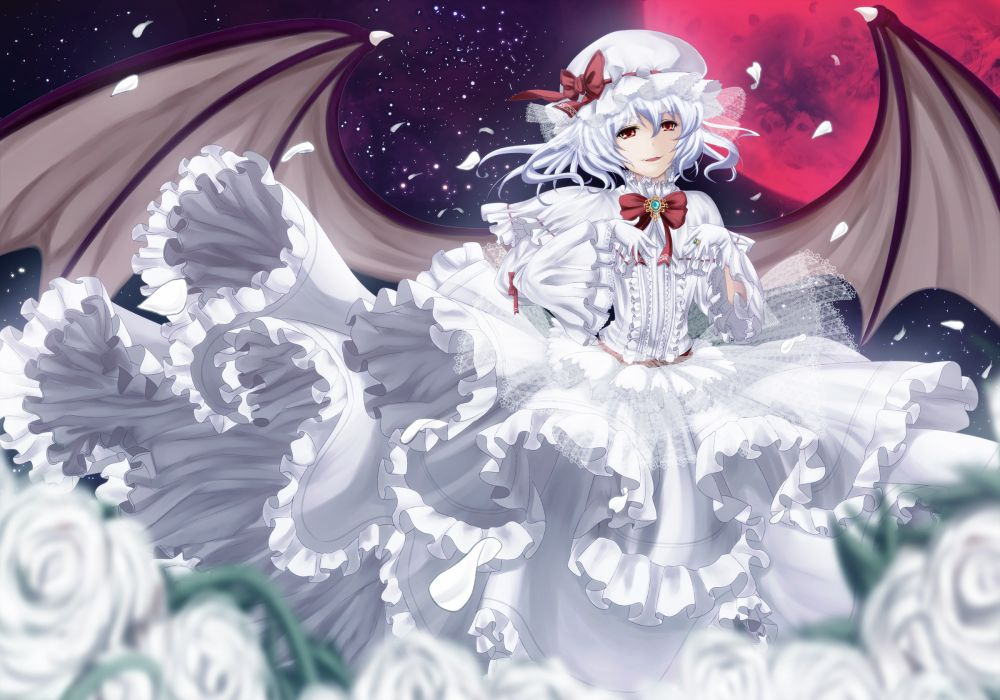 dress flowers moon petals red eyes remilia scarlet touhou untsue vampire white hair wings wallpaper