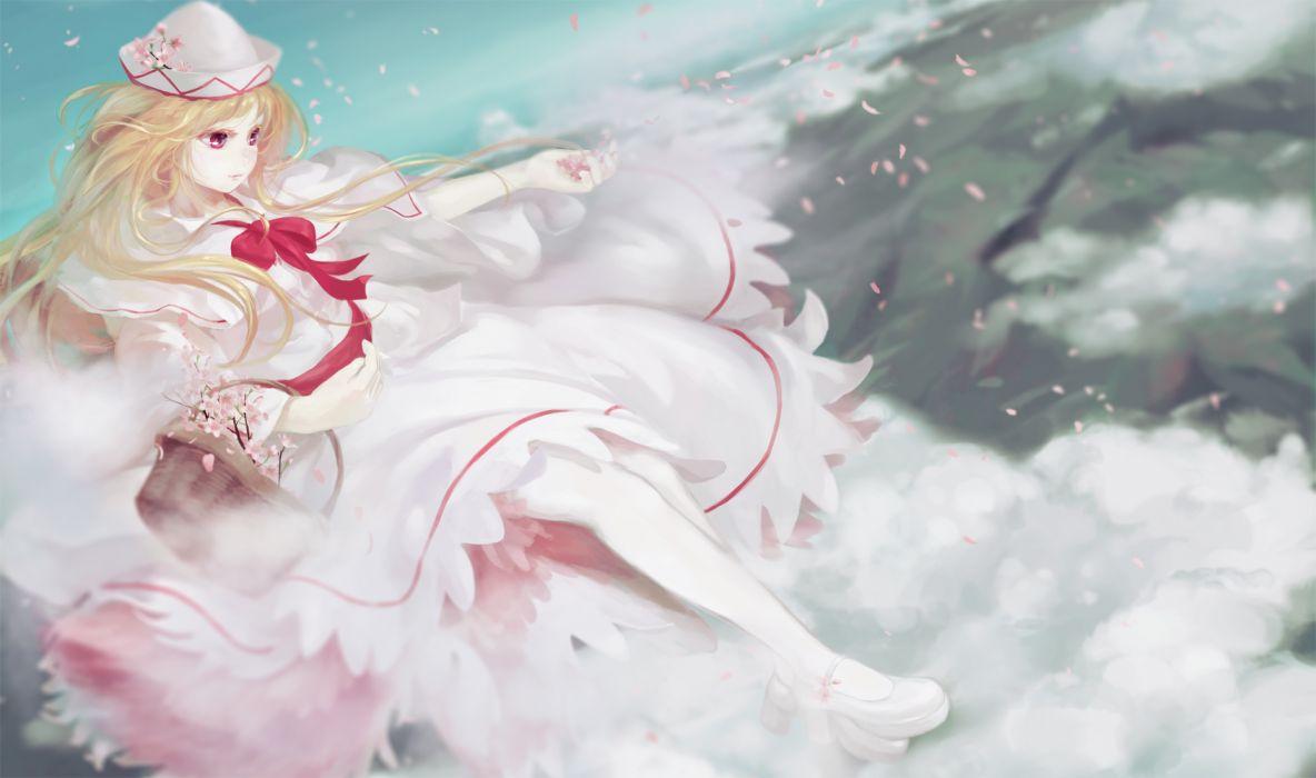 clouds jq lily white petals touhou wallpaper