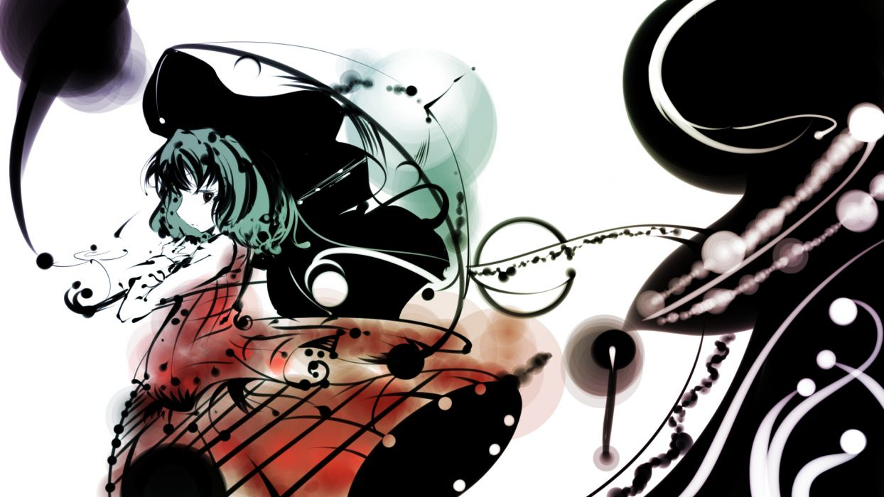 black eyes green hair kazami yuuka short hair sibanoue skirt touhou umbrella wallpaper