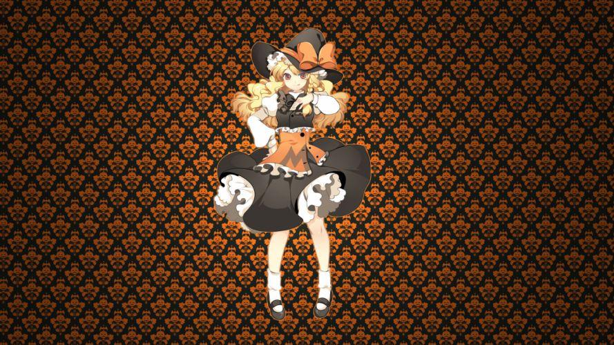 blonde hair bow halloween hat kirisame marisa photoshop touhou witch wallpaper