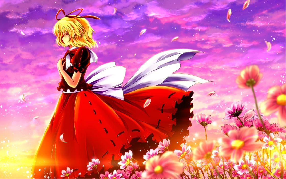 blonde hair clouds flowers medicine melancholy nekominase touhou wallpaper